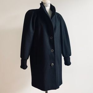 Vintage 90s Wool Overcoat Puffed Sleeve Coat
